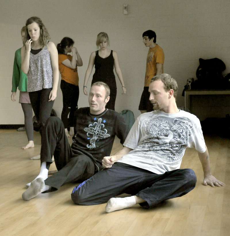 """""""The Two Brothers,"""" Keith Dinsmore and Ryan Jordan, take part in a modern dance class at Southern Maine Community College, taught by Jessamyn Schmidt, below."""