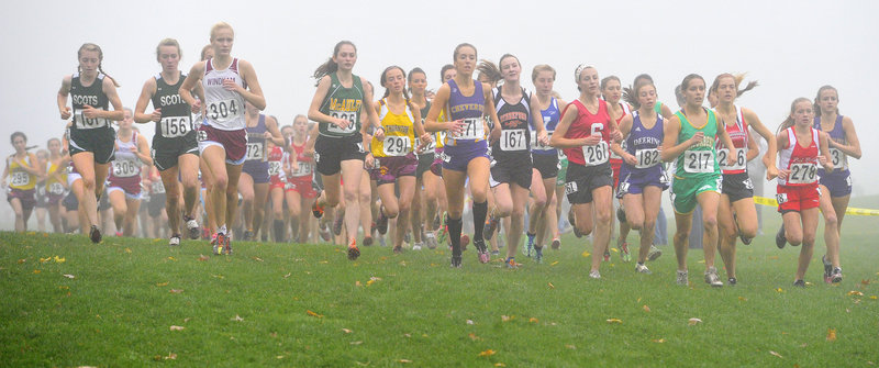 And they're off for the start of the Class A girls' race at the Western Maine cross country regionals Saturday at Twin Brook Recreation Area in Cumberland. Bonny Eagle won the Class A team title, heading the list of qualifiers for next week's state meet in Belfast.