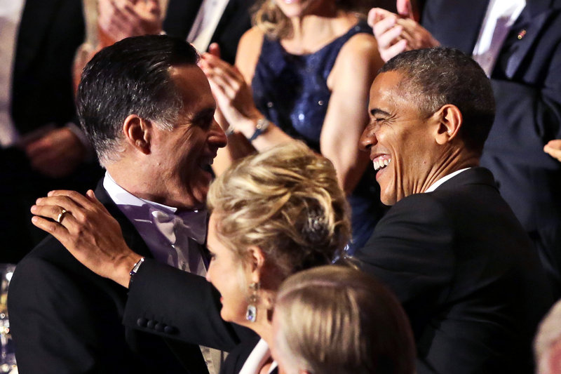 Republican presidential candidate Mitt Romney and President Obama greet each other at a New York charity gala organized by the Archdiocese of New York last Thursday. The two will meet Monday night in their final campaign debate before the Nov. 6 election.