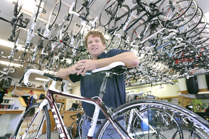 "David Brink at Cycle Mania in Portland said Armstrong deserves credit for ""what he has done to get people off the couches and out riding bikes."""