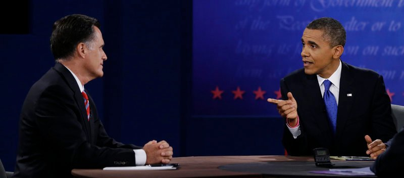 President Barack Obama and Republican nominee Mitt Romney square off during the third and final presidential debate Monday, Oct. 23, 2012.
