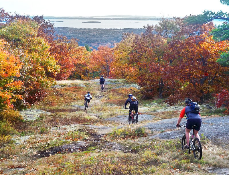 Cyclists experience the fall foliage on a mountain bike ride at the Camden Snow Bowl.