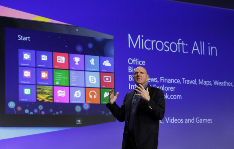 Microsoft CEO Steve Ballmer gives his presentation at the launch of Microsoft Windows 8 in New York Thursday. Windows 8 is the most dramatic overhaul of the personal computer market's dominant operating system in 17 years.