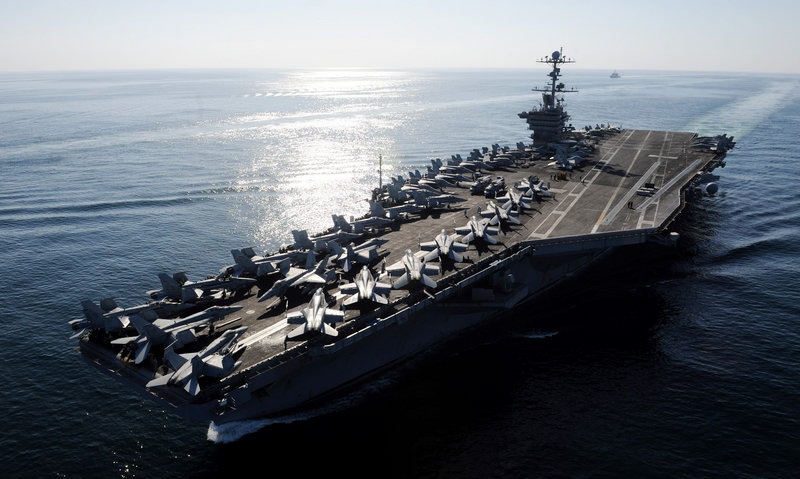 The Nimitz-class aircraft carrier USS John C. Stennis transits the Strait of Hormuz in 2011. The United States has 11 aircraft carriers while no other nation has more than two.