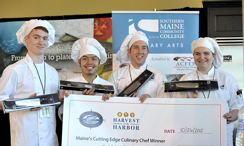 The first-place winners of the Harvest on the Harbor college competition at Ocean Gateway on Friday are, from left: Nate Davies, Toan Nguyen, Adam Robichaud and Megan Manseau, members of the team from Southern Maine Community College in South Portland.