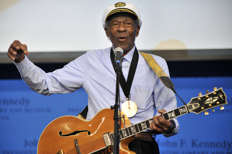 """Musician Chuck Berry plays his hit """"Johnny B. Goode"""" at the John F. Kennedy Presidential Library and Museum in Boston last February, when he received PEN New England's inaugural award for Song Lyrics of Literary Excellence."""