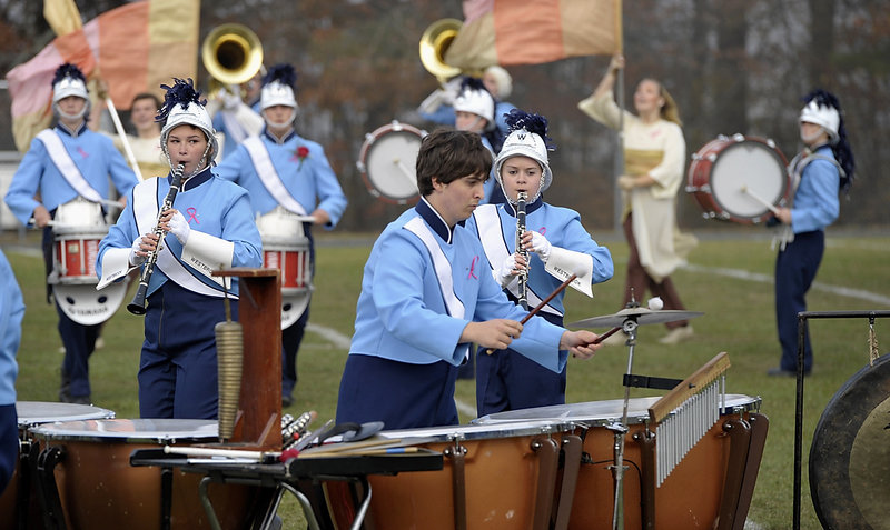 The Westbrook High School Band has plenty of kettle drum action providing the beat as it performs in the 2012 Maine Band Directors Association Marching Band Finals hosted by Old Orchard Beach on Saturday.