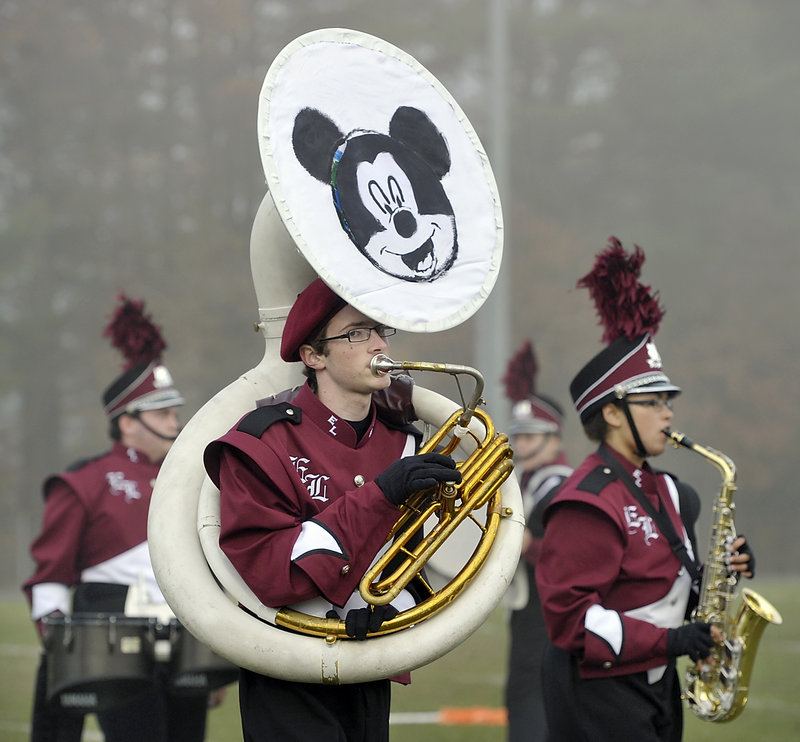 Mickey Mouse adorns the lead tuba as Edward Little High School's marching band plays to a Disney theme in the 2012 Maine Band Directors Association Marching Band Finals hosted by Old Orchard Beach on Saturday.