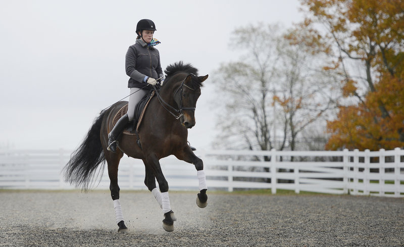 Gwyneth McPherson, director and lead trainer at the Pineland Farms Equestrian Center, demonstrates dressage on Flair, the center's star dressage horse, during the New England Dressage Association Fall Symposium at Pineland Farms in New Gloucester on Sunday.