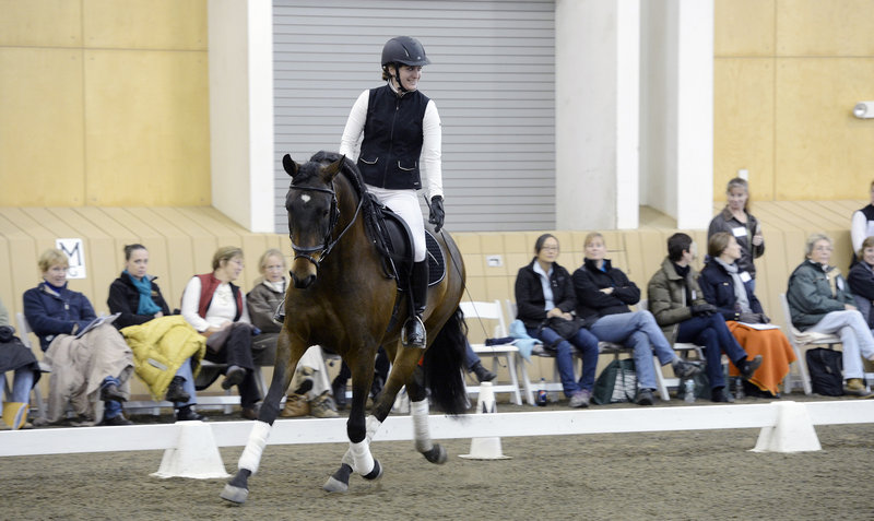 Hana Poulin of Pownal demonstrates dressage while riding Caliente during the New England Dressage Association Fall Symposium at Pineland Farms in New Gloucester on Sunday.