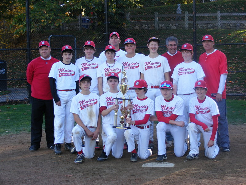 Members of the Maine Squeeze 13U baseball team, which won the New England AAU championship, from left to right: Front row – Gage Cote of Lewiston, Cameron Guarino of Falmouth, Gabe Gervais of Chelsea, Troy Johnson of Oxford and Matt Fortier of Falmouth. Second row – Ryan Kelley of West Gardiner, Matthew Crockett of Brewer, Nicolas Berube of Randolph, Ryan Sinclair of Farmingdale, Nickolas Sanborn of Monmouth and Emery Chickering of Otisfield. Back row – Coach Bob Sinclair of Farmingdale, Manager Wayne Berube of Randolph, scorekeeper Peter Guarino of Falmouth and Coach Rodney Johnson of Oxford.