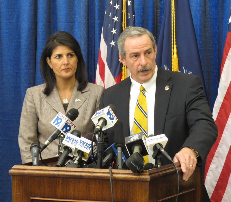 South Carolina Gov. Nikki Haley and State Law Enforcement Division Chief Mark Keel describe the hacking at a news conference in Columbia on Monday.