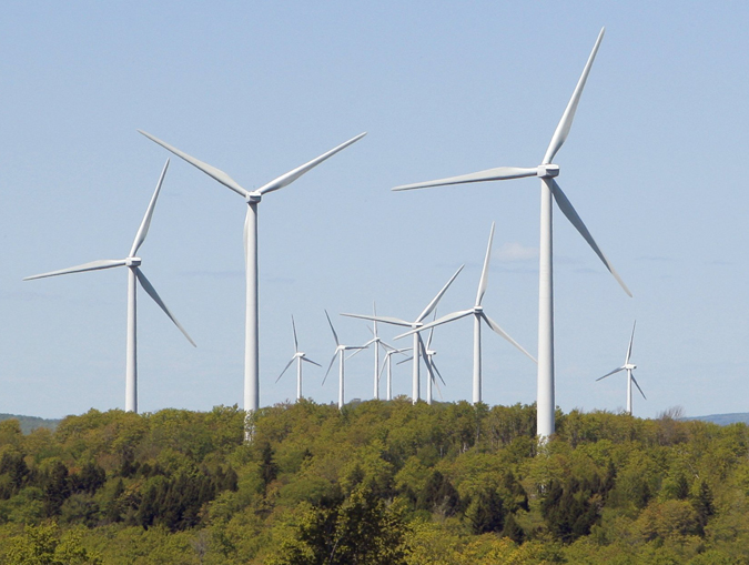 Wind turbines tower over the landscape at the Stetson wind farm in Danforth. The wind farm has 55 turbines.