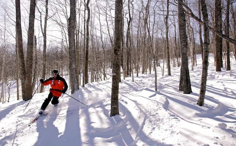 In this February 2011 file photo, Jeff Kuller, director of the Camden Snow Bowl, skis in a glades at the Camden Snow Bowl. Kuller died Sunday at the age of 56.