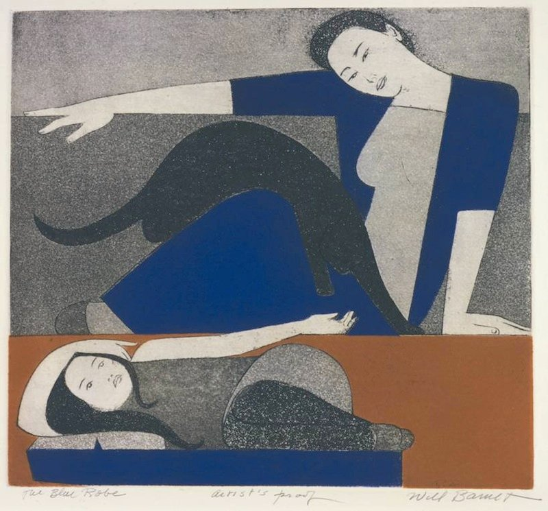 "Will Barnet, The Blue Robe, 1971, etching and aquatint on Arches cover paper, 23 5/16"" x 29 7/8"""
