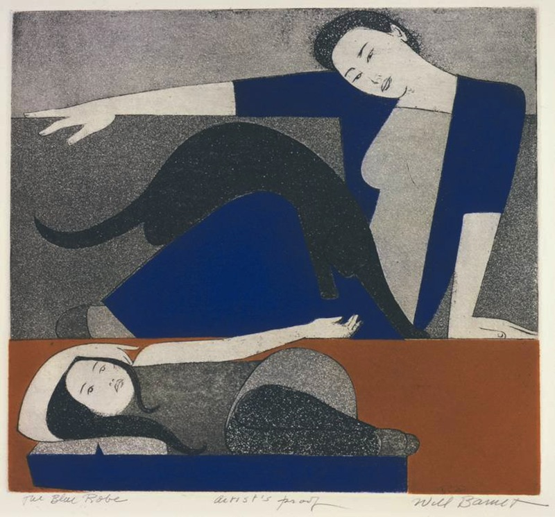 Will Barnet, The Blue Robe, 1971, etching and aquatint on Arches cover paper, 23 5/16