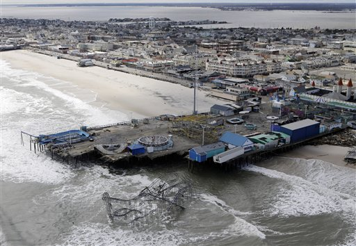 This aerial photo shows some of the damage to an amusement park left in the wake of superstorm Sandy in Seaside Heights, N.J.