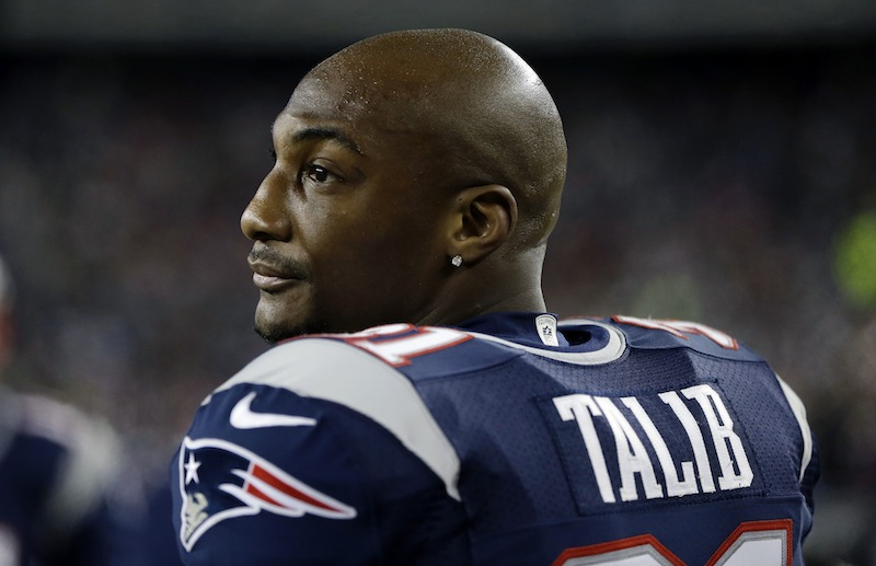 New England Patriots cornerback Aqib Talib on the sidelines in the second half of an NFL football game against the Indianapolis Colts in Foxborough, Mass., Sunday, Nov. 18, 2012. The Patriots won 59-24. (AP Photo/Michael Dwyer)