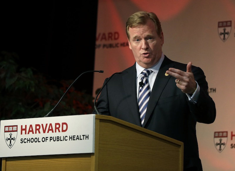 NFL football commissioner Roger Goodell delivers a Dean's Distinguished Lecture at Harvard School of Public Health in Boston, Thursday, Nov. 15, 2012, where he discussed some of the rules that have been created to limit concussions in the game of football. Goodell said the league will do what it needs to do to protect the safety of its 1,800 players. (AP Photo/Elise Amendola)