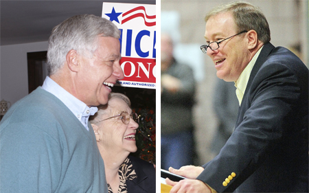 Left: Rep. Mike Michaud gets a hug from his mother, Jean, on Election Day in 2010. Michaud is undefeated in the 16 elections he's faced. Right: As Maine Senate president, Kevin Raye is generally credited with trying to foster bipartisan cooperation Every Thursday, he had dinner with his Democratic peers.