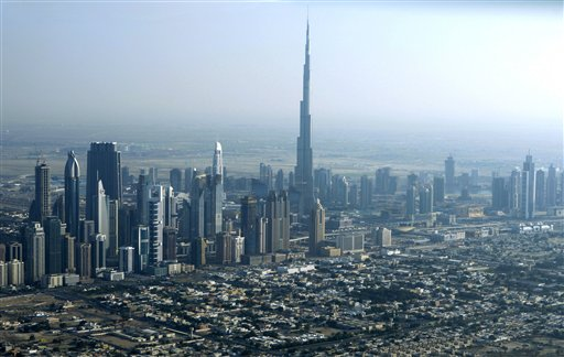 The Dubai skyline, including the Burj Dubai, the world's tallest building.