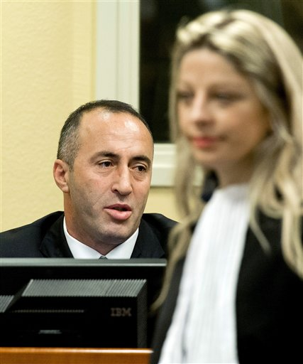 Former Kosovo Prime Minister Ramush Haradinaj awaits his verdict at the courtroom of the Yugoslav war crimes tribunal in The Hague, Netherlands, on Thursday.