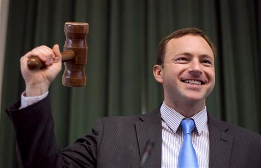 Newly elected Speaker of the House, Rep. Mark Eves, D-North Berwick, tries out the gavel Thursday. With Democrats back in control of Maine's Legislature, will Gov. LePage modify his approach to compromise? It doesn't appear he will.