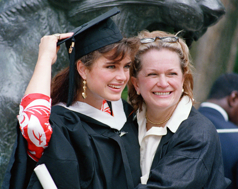 Actress-model Brooke Shields with her mom Teri after graduation ceremonies in 1987 at Princeton University in Princeton, N.J.