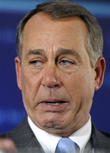 This Nov. 2, 2010, photo shows House Republican leader John Boehner of Ohio with tears in his eyes as he celebrated the GOP's victory that changed the balance of power in Congress.