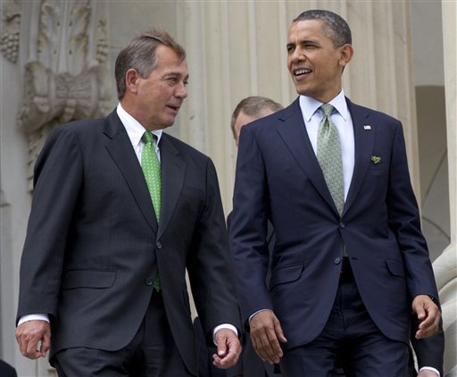 House Speaker John Boehner and President Barack Obama walk down the steps of the Capitol in Washington in this March 2012 photo.