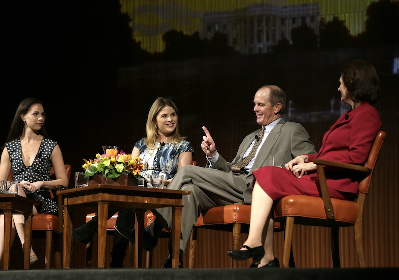 Steve Ford, second from right, talks about life in the White House as he is joined on stage by, from left to right, Barbara Pierce Bush, Jenna Bush Hager, and Lynda Johnson Robb during the Enduring Legacies of America's First Ladies conference Thursday, Nov. 15, 2012, in Austin, Texas. The children of three presidents discussed life in the White House as part of a conference on first ladies at the Lyndon B. Johnson Presidential Library. (AP Photo/David J. Phillip)