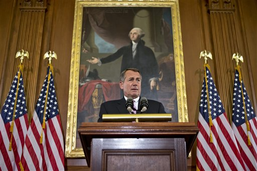 Speaker of the House John Boehner, R-Ohio, talks about the elections and the unfinished business of Congress, in a prepared statement at the Capitol in Washington, Wednesday, Nov. 7, 2012. The first post-election test of wills could start next week when Congress returns from its election recess to deal with unfinished business � including a looming