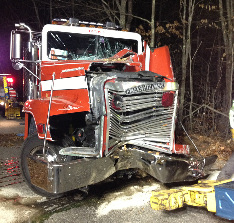 South Berwick's tanker truck was destroyed Sunday afternoon when it hit a large pine tree.