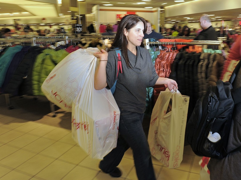 Erika Jordan of Parsonsfield found plenty of good deals within the first 10 minutes of when J.C. Penney opened its doors this morning for Black Friday, and after dropping off this load she was headed back for more.