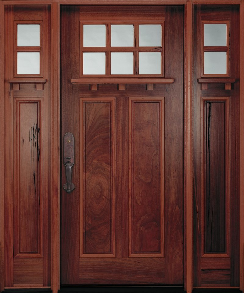 A Craftsman door from Pella. Craftsman and Shaker looks are hot now.