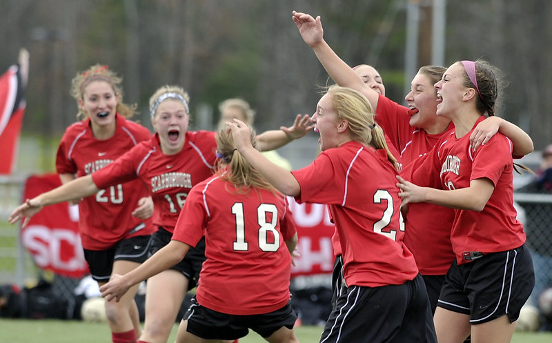 Scarborough fell behind early but reacted accordingly after scoring the tying goal against Bangor in the Class A state championship game at Hampden. The Red Storm came all the way back for a 2-1 win.