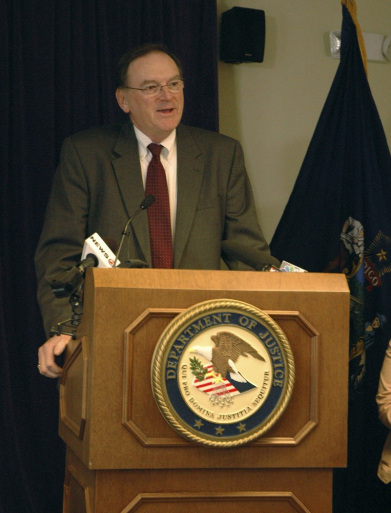 U.S. Attorney Thomas Delahanty II speaks during a news conference Thursday.