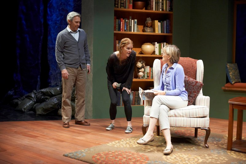 "David Adkins, Lesley Shires and Corinna May in ""Homestead Crossing,"" now running at Portland Stage Company."