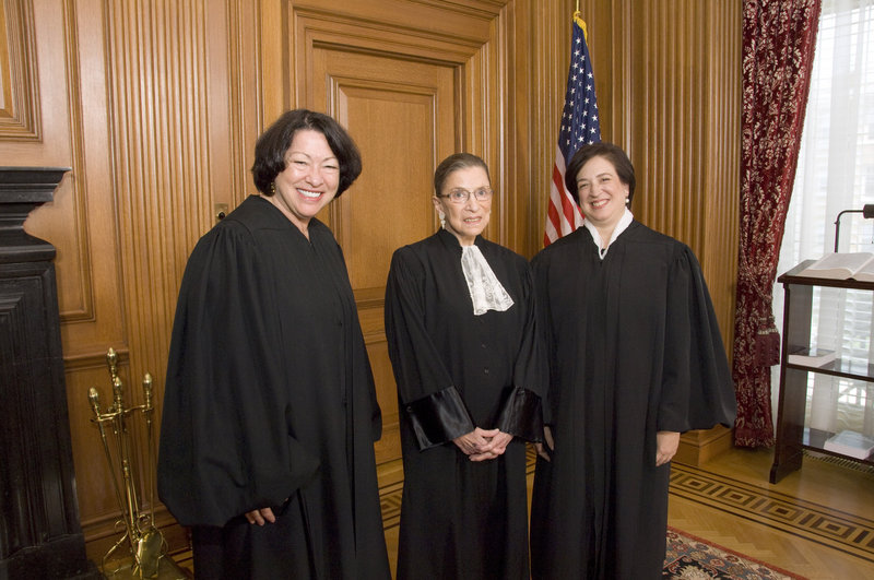 This 2010 file photo shows, from left, U.S. Supreme Court Justices Sonia Sotomayor, Ruth Bader Ginsburg and Elena Kagan. The oldest of the court's nine members, 79-year-old Ginsburg, has indicated she plans to stay on the court for the time being.