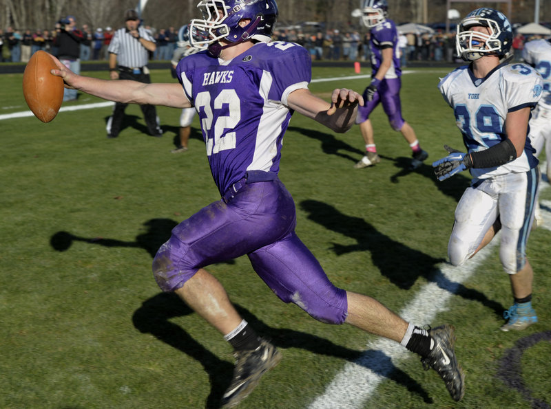 Cameron Roll, scoring the touchdown against York that gave Marshwood the Western Class B title, has a running back background that has made him a threat at quarterback.