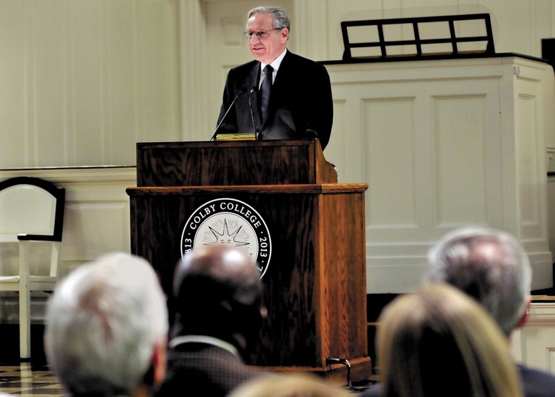 Washington Post associate editor and author Bob Woodward speaks about journalism in America at Colby College in Waterville on Sunday.
