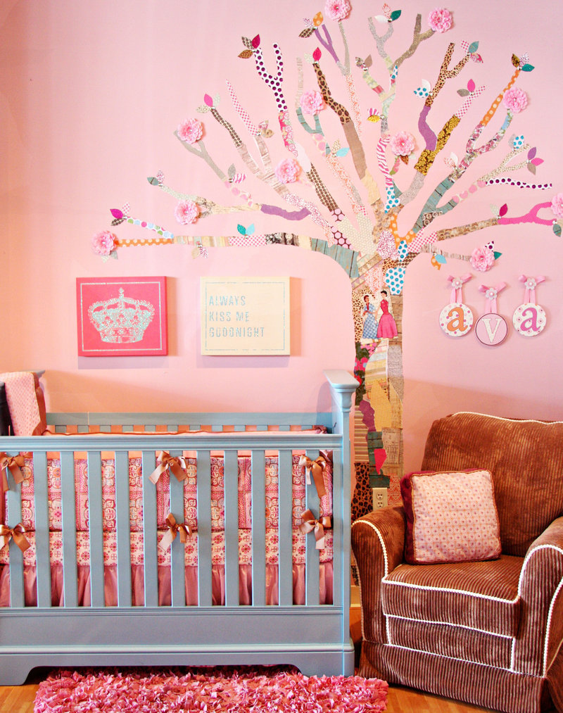 Wall trees, a popular design trend for babies' rooms, become a bit more affordable with scrapbook paper and a little elbow grease.