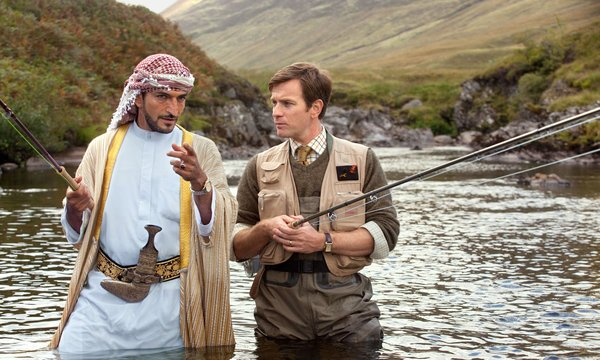 "Amr Waked and Ewan McGregor in ""Salmon Fishing in the Yemen,"" the featured film this week at the York Public Library."