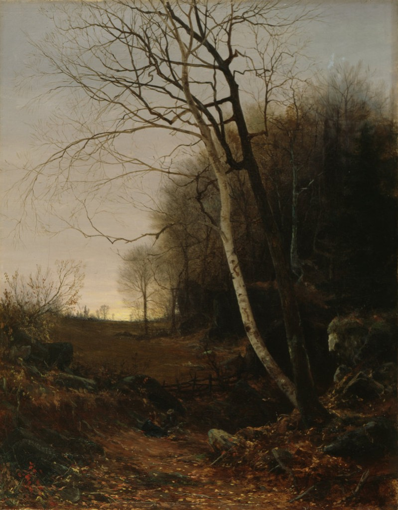 """Evening Landscape, Late Autumn,"" 1861 oil on canvas by Jervis McEntee, at the Bowdoin College Museum of Art."