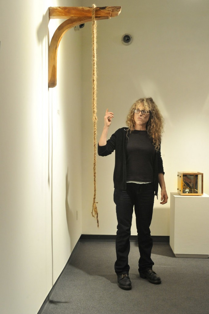 "Diana Cherbuliez discusses one of her pieces, ""Let Myself Down,"" which she created using her own hair."