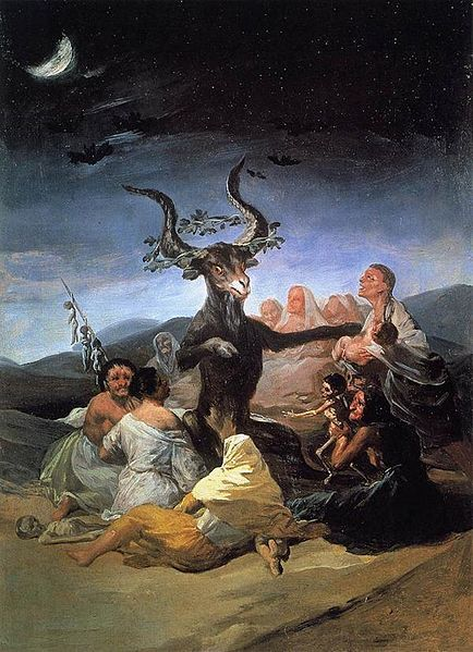 "Goya's Pan in ""The Witches' Sabbath"" has lyre-shaped horns, seemingly crowned with a victor's laurel leaves."