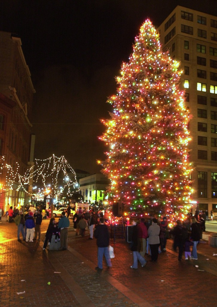 The holiday season in Portland officially gets under way at 5:30 p.m. Friday with the lighting of the Christmas tree in Monument Square.
