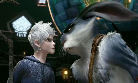 "Jack Frost and the Easter Bunny (voiced by Chris Pine and Hugh Jackman, respectively) in ""Rise of the Guardians."""