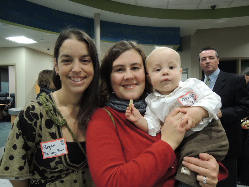 "Megan Dunn and Beatrice Dahlen, co-directors of education at The Long Barn Education Initiative at Broadturn Farm, and baby Otto Dahlen, enjoying reception hors d'oeuvres. Their program received a $5,000 grant for its ""farm to school"" partnership with the Scarborough Public Schools."