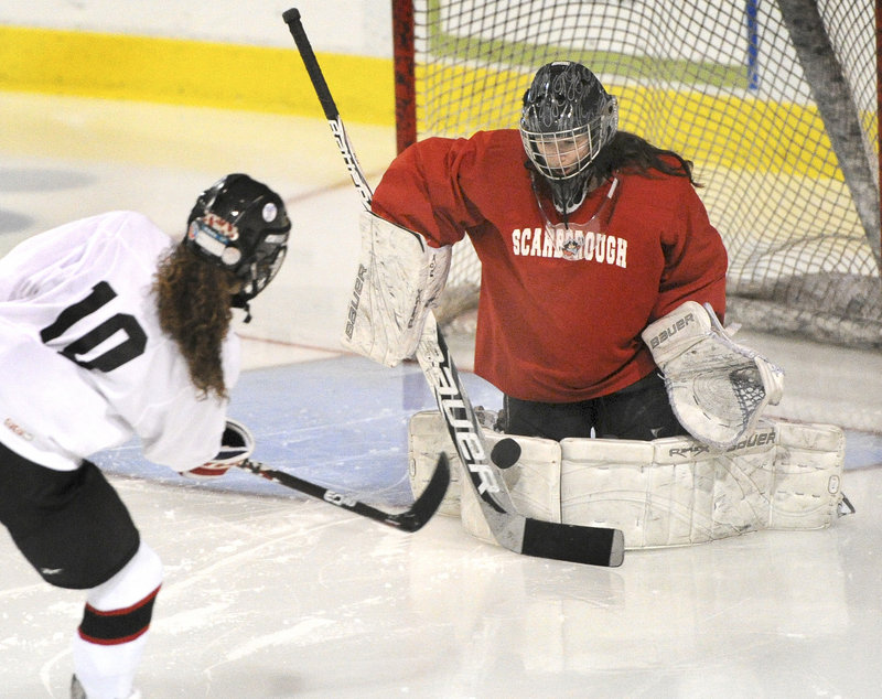 Devan Kane of Scarborough has played two varsity seasons and made the All-State team both times. She developed a love of goaltending while playing street hockey with her two younger brothers.